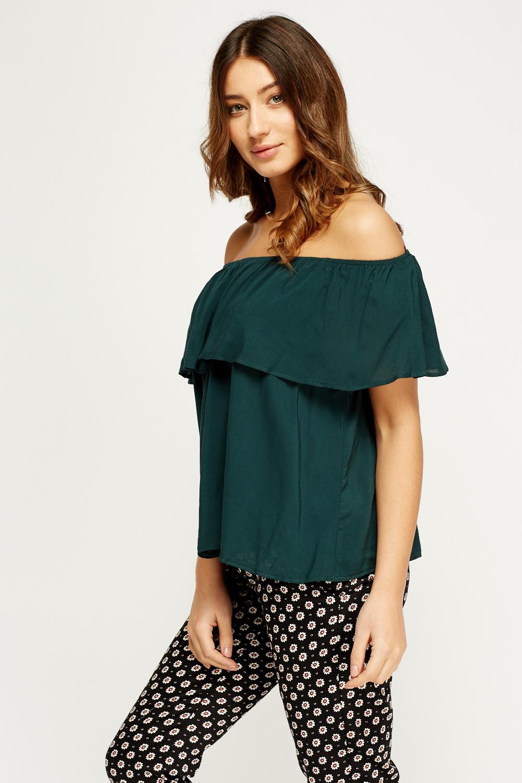 0ae06b71d2a Flare Off Shoulder Dark Green Top - Just £5