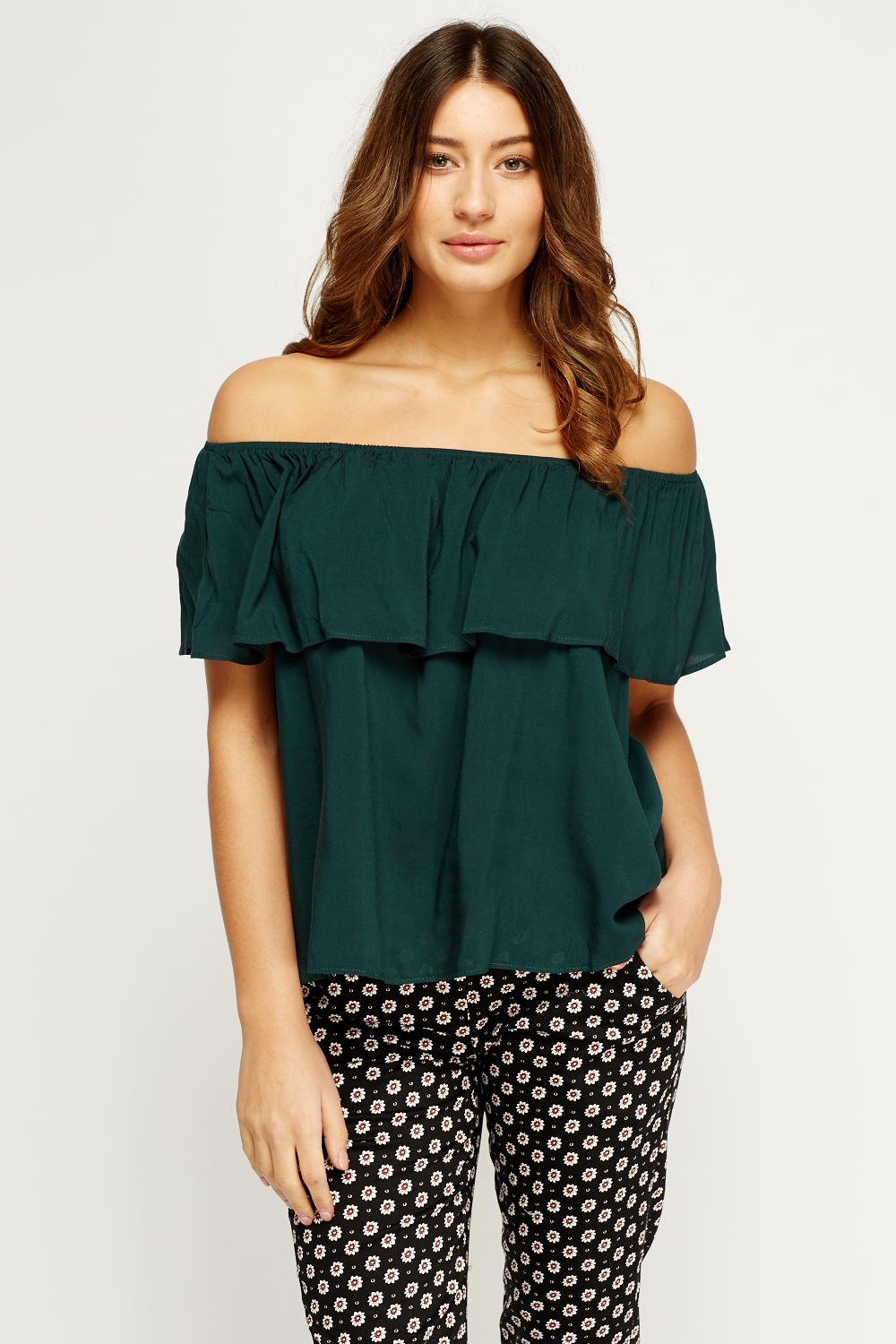 Flare Off Shoulder Dark Green Top - Just £5 ae86814be