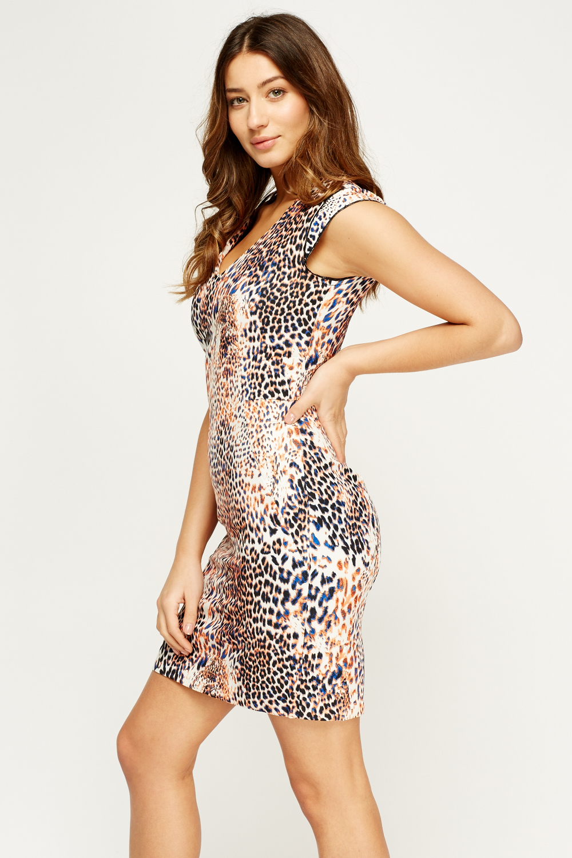 Leopard Print Mini Dress Orange Multi Or Purple Multi