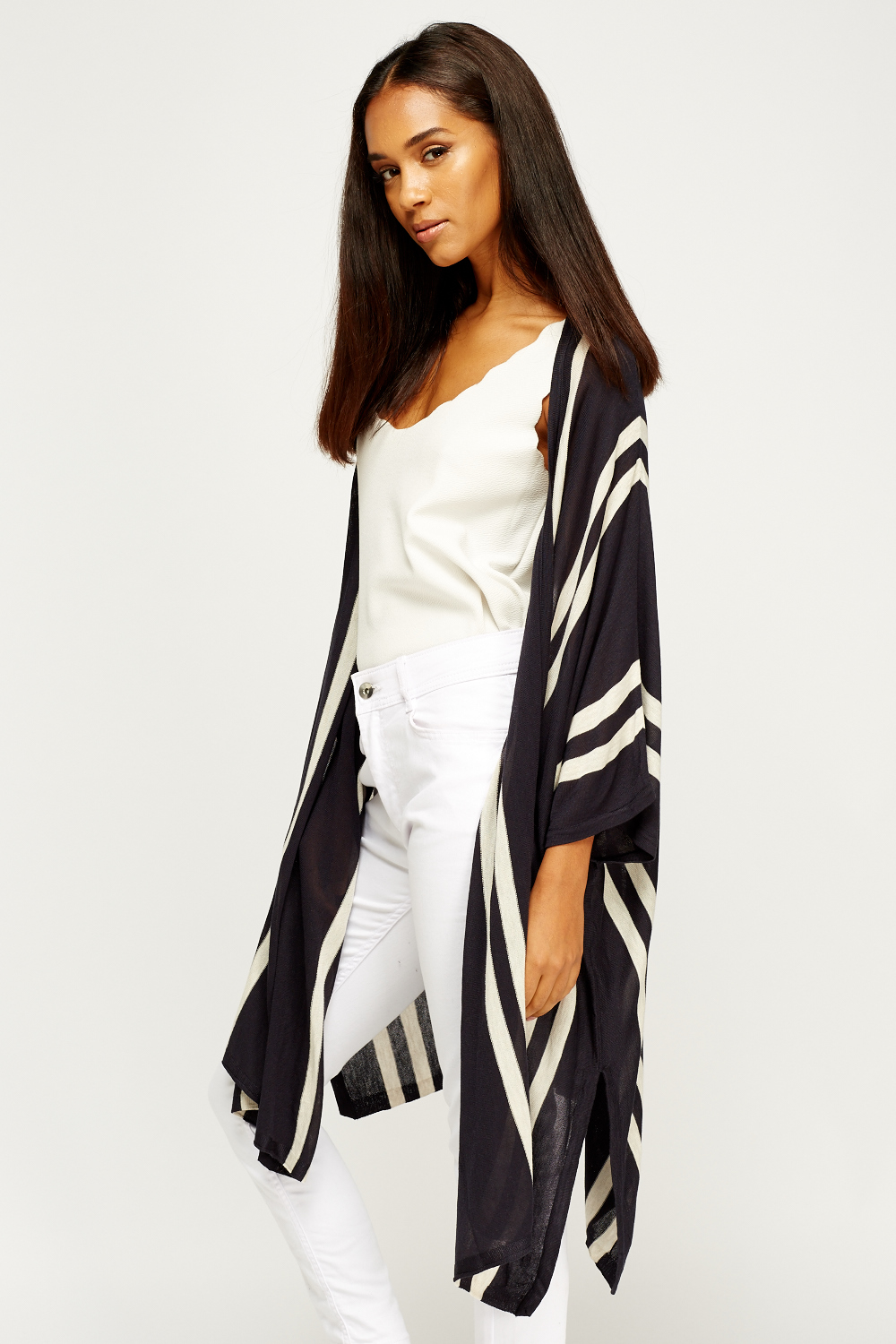 Striped Asymmetric Long Line Kimono Just 163 5