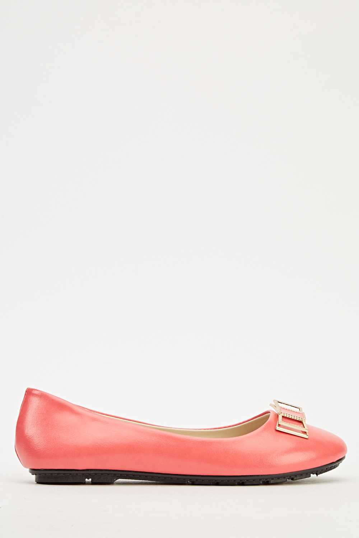 fecb70c4ae9 Embellished Bow Ballet Pumps - Light Coral - Just £5