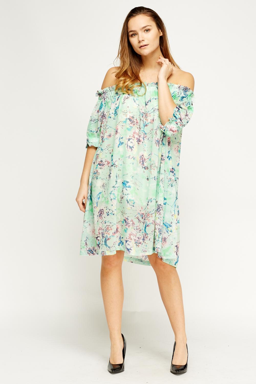 941f054533fa Off Shoulder Floral Shift Dress - Just £5