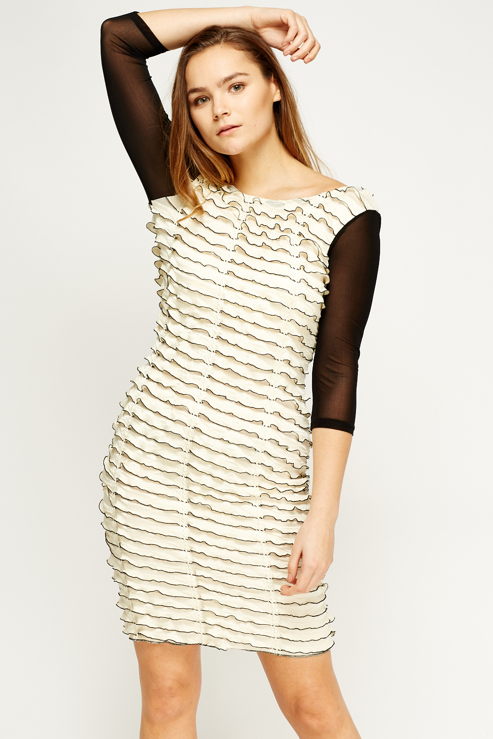 Ruffled Mesh Sleeve Dress - Cream/Black or Red/Black - Just £5