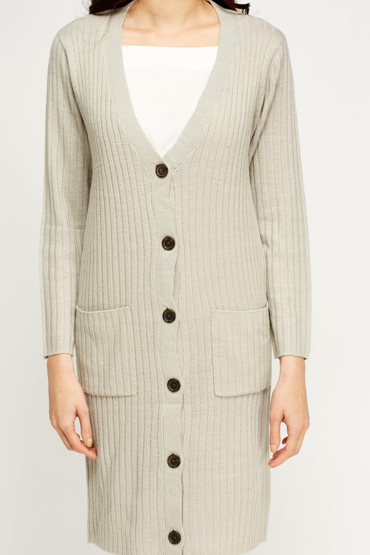 V-Neck Knitted Longline Cardigan - Just ?5