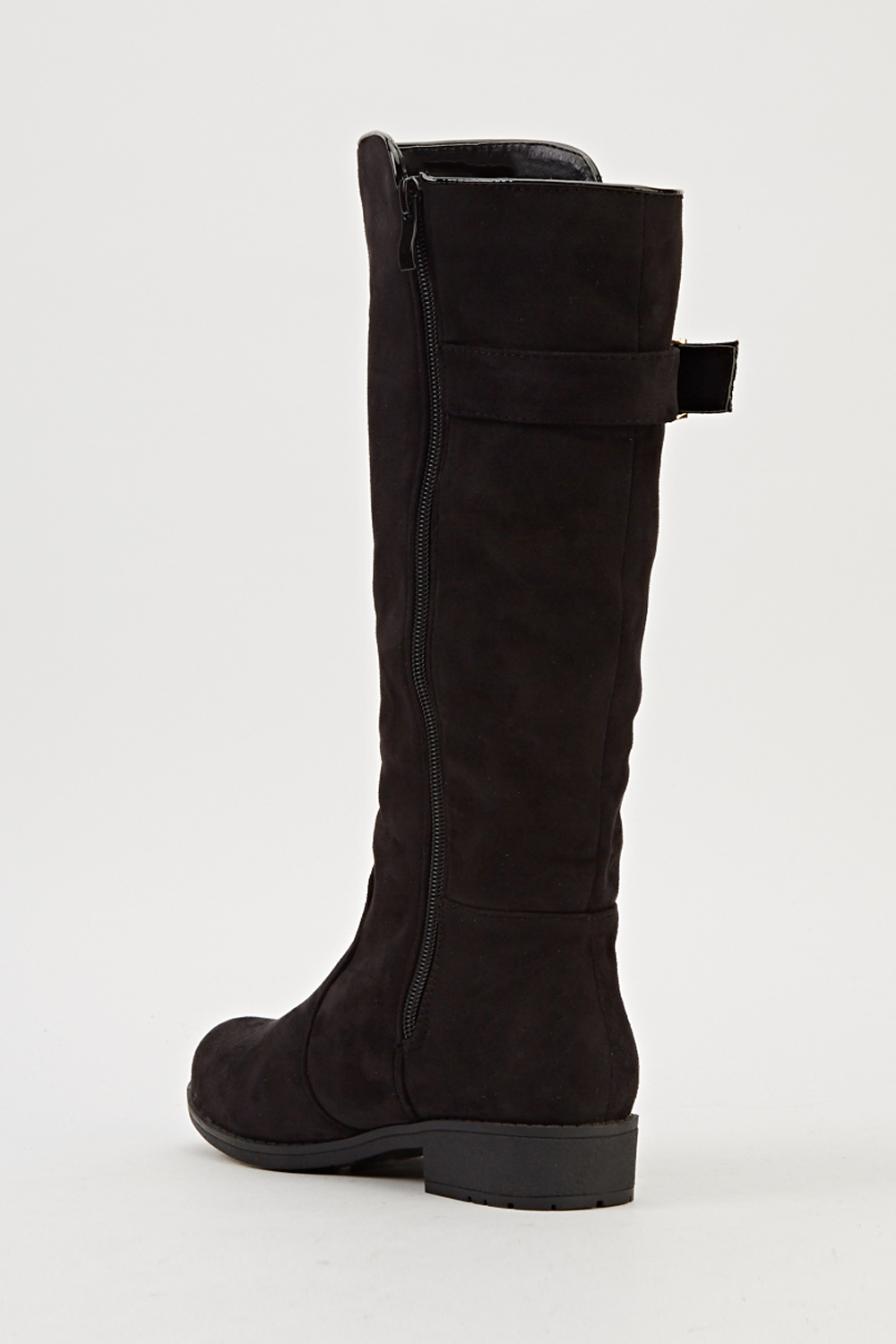 black contrast buckle boots just 163 5
