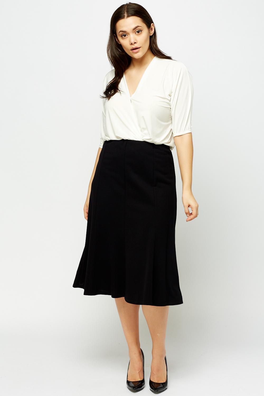 black elasticated midi swing skirt just 163 5