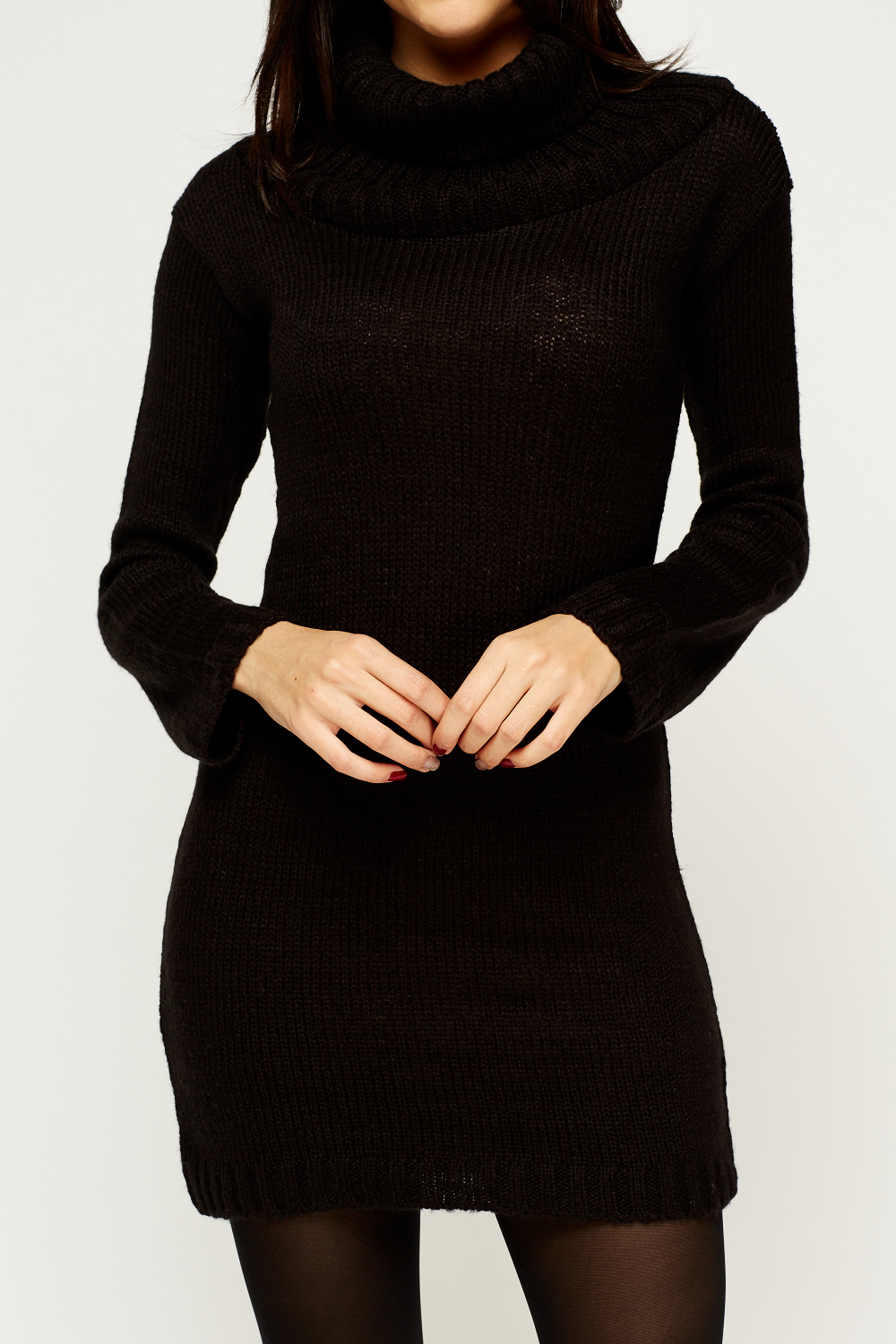 Knitting Pattern Roll Neck Jumper : Roll Neck Knitted Jumper Dress - Just ?5