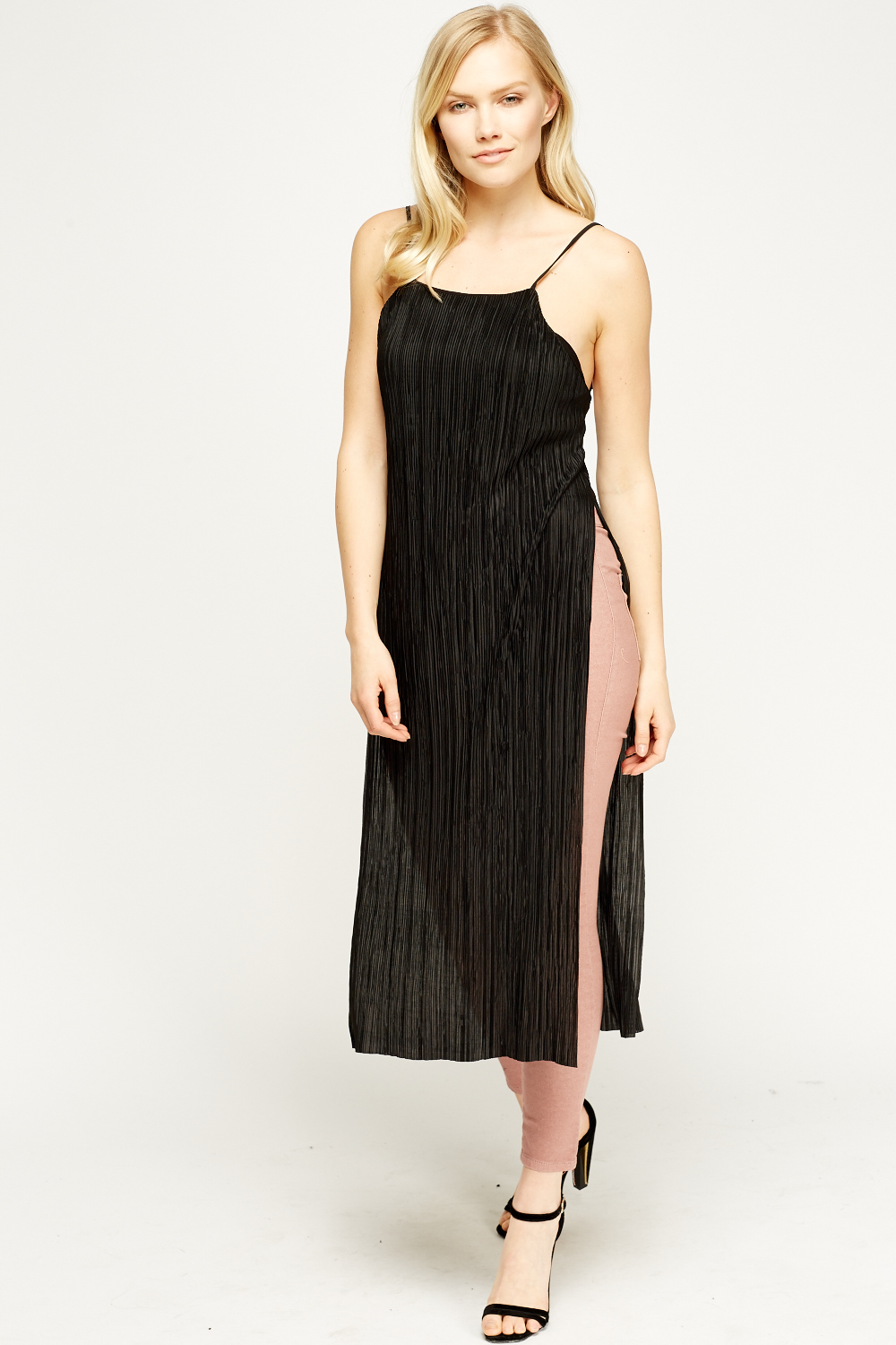 Pleated Slit Side Long Top Black Just 163 5