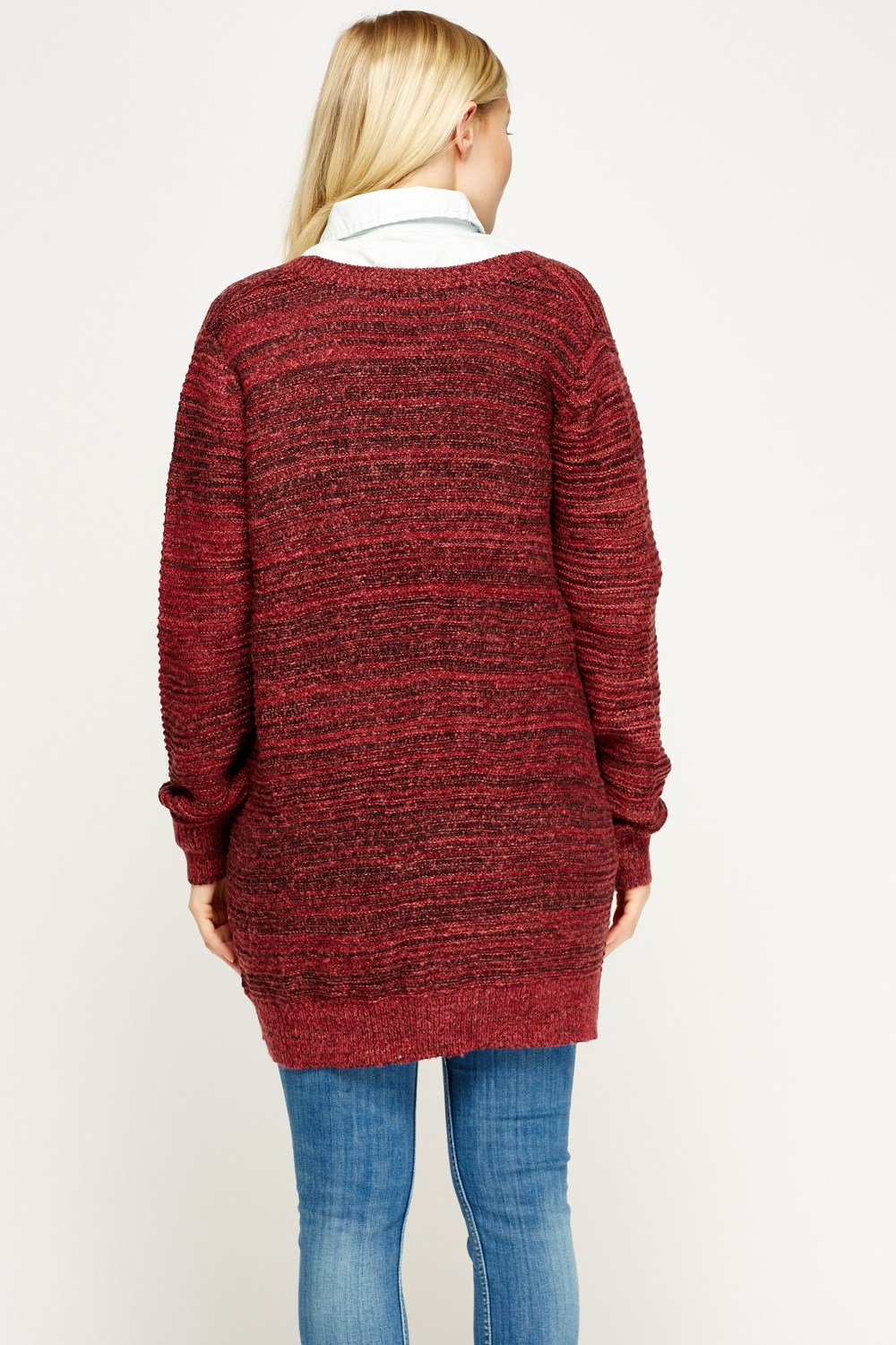 Knitting Pattern Open Front Cardigan : Speckled Open Front Knit Cardigan - Maroon - Just ?5