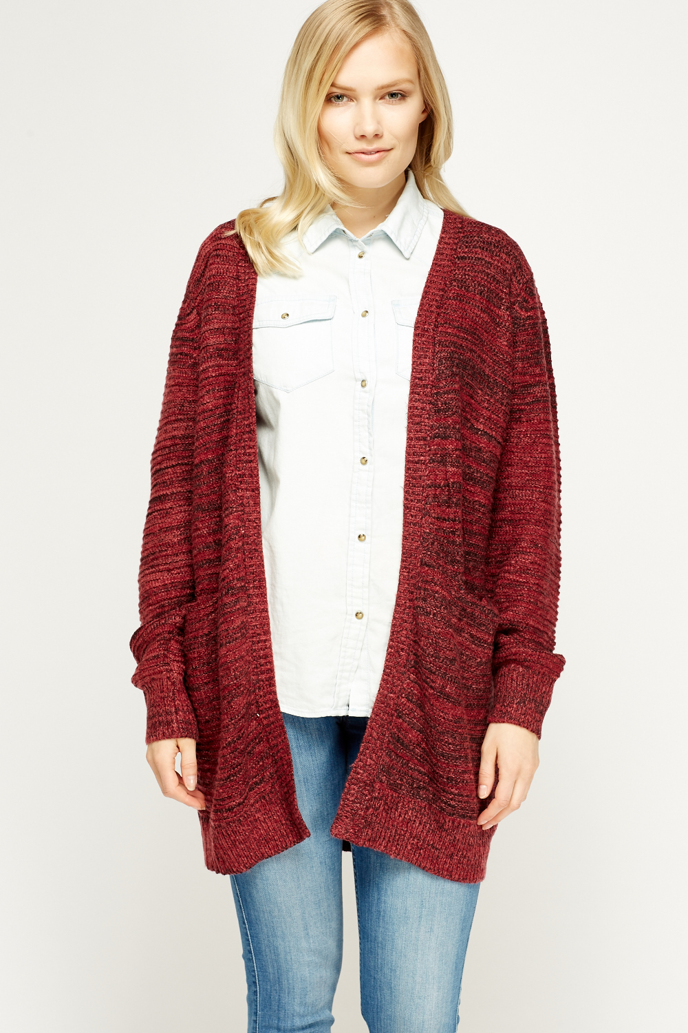 Speckled Open Front Knit Cardigan - Maroon - Just ?5