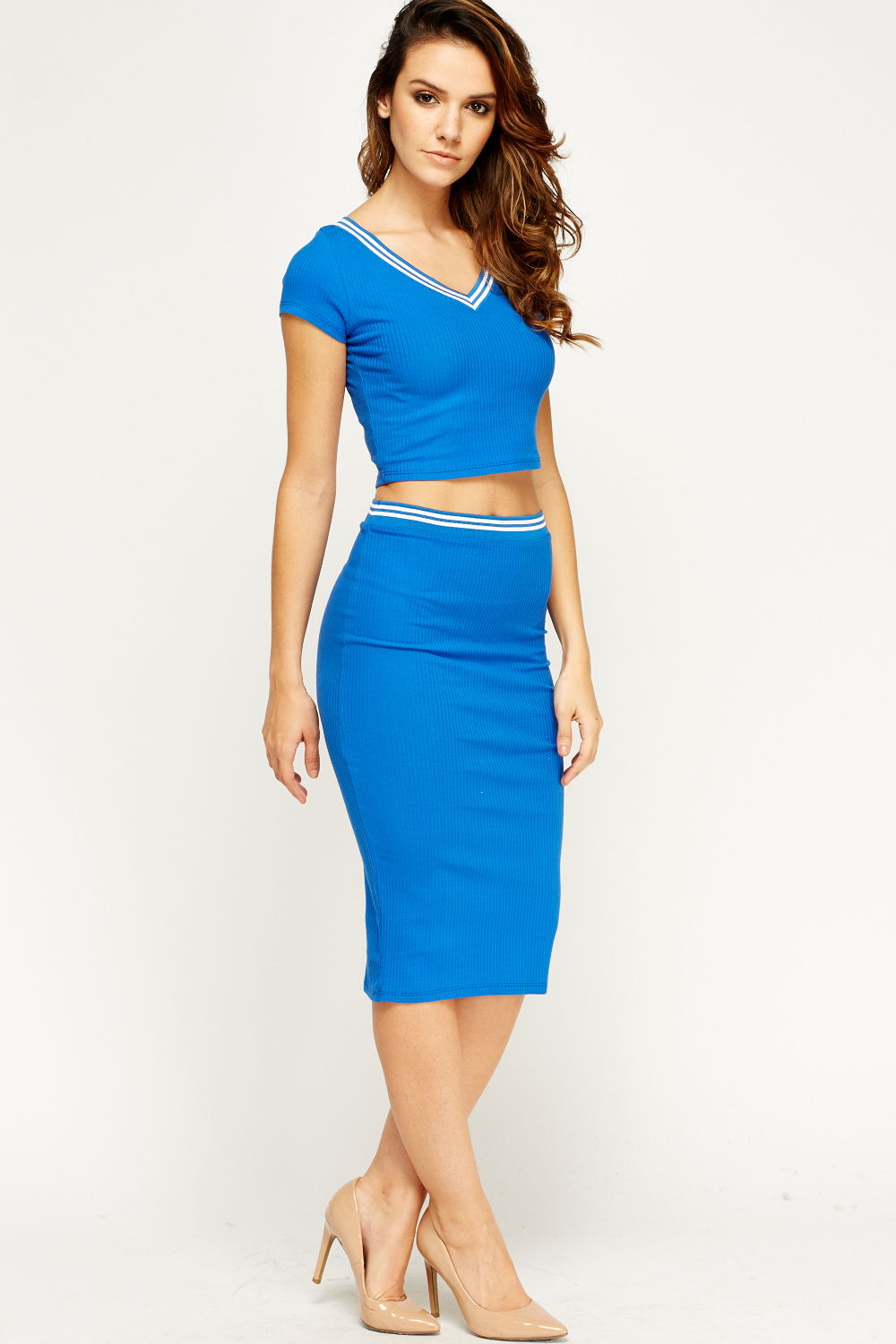Contrast Trim Cropped Top And Skirt Set - Just £5