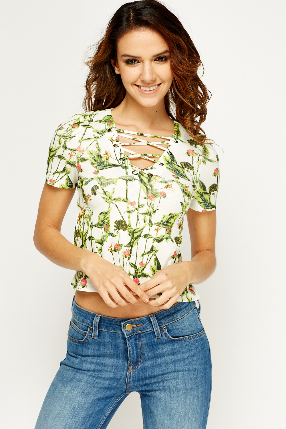 Criss Cross Printed Crop Top White Green Just 163 5