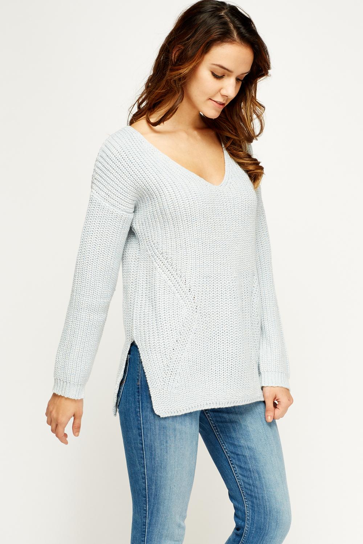 V-Neck Knitted Jumper - Just ?5