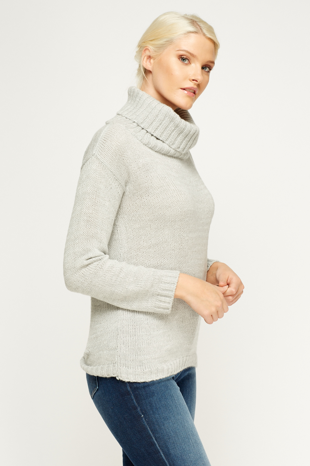 Cowl Neck Grey Knit Jumper - Just ?5