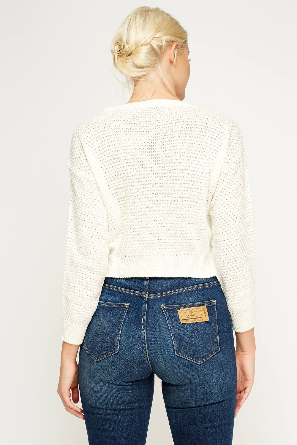 Knitting Pattern Cropped Jumper : Knitted Cropped Cream Jumper - Just ?5