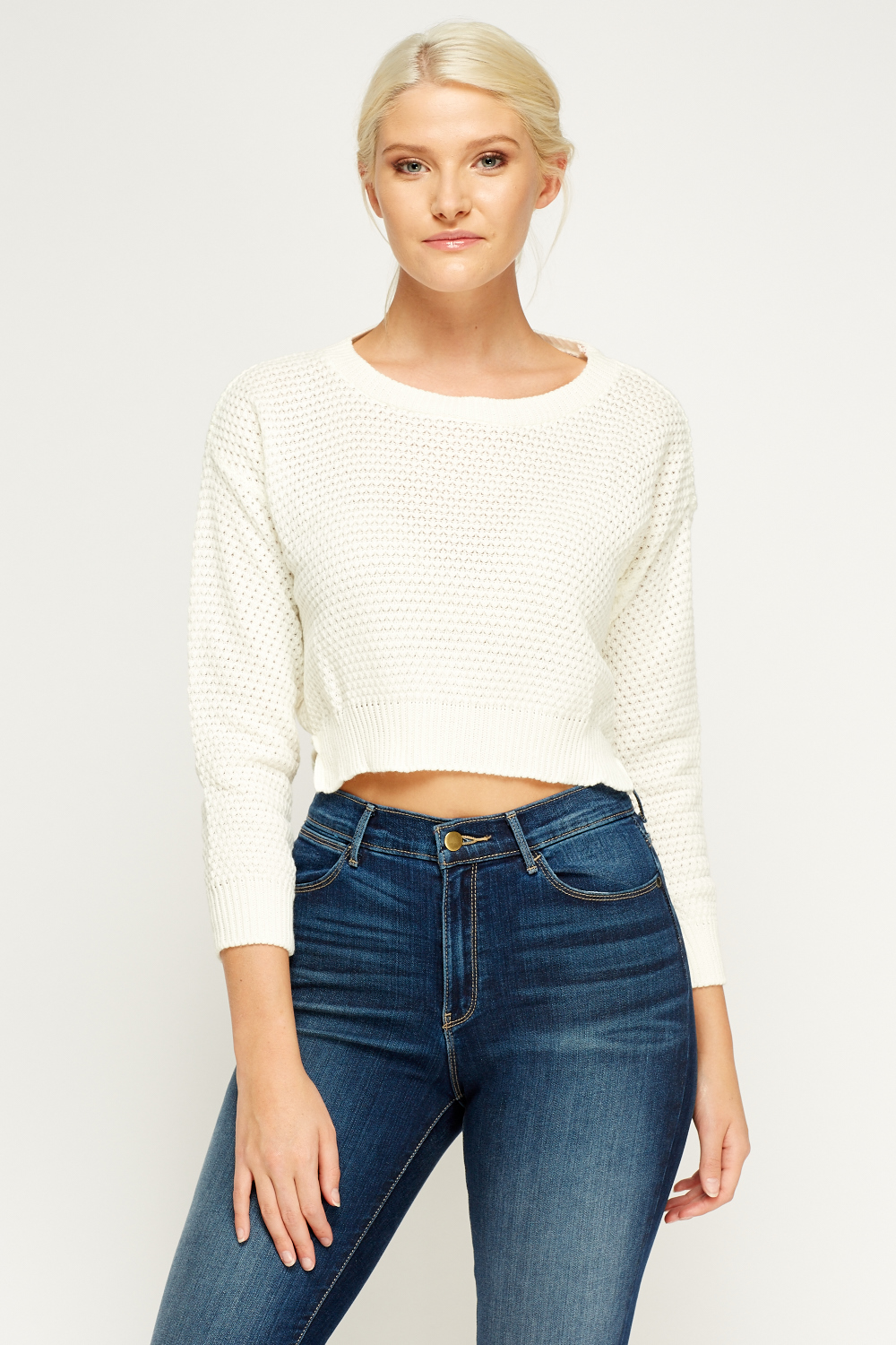Cropped Jumper Knitting Pattern : Knitted Cropped Cream Jumper - Just ?5