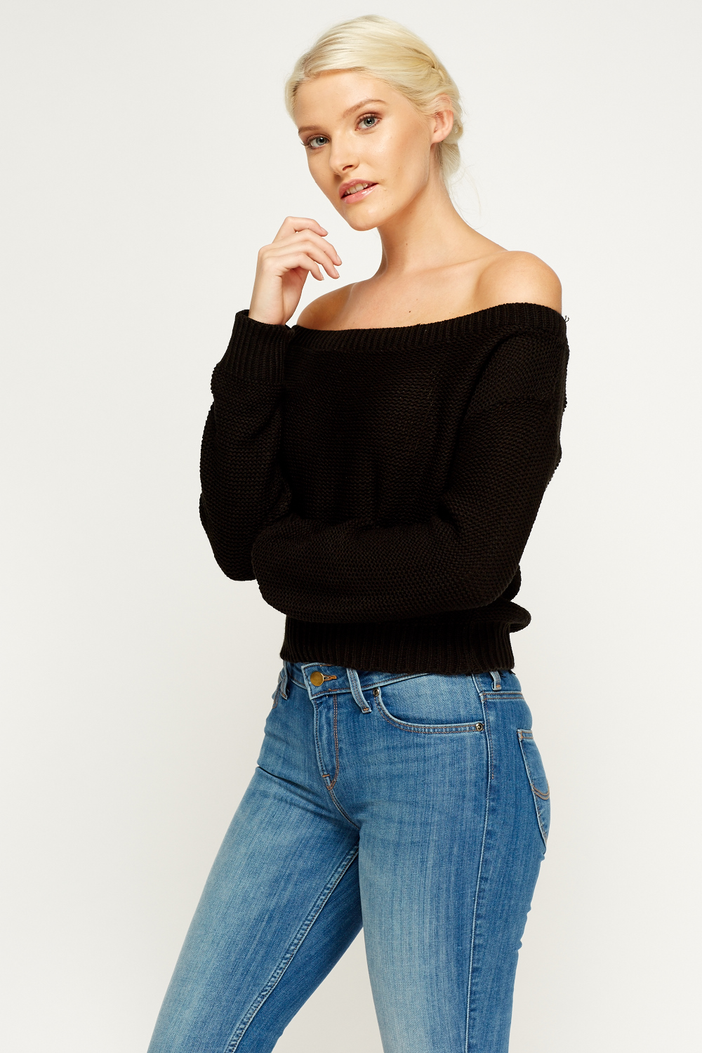 Off Shoulder Knit Jumper - Just ?5