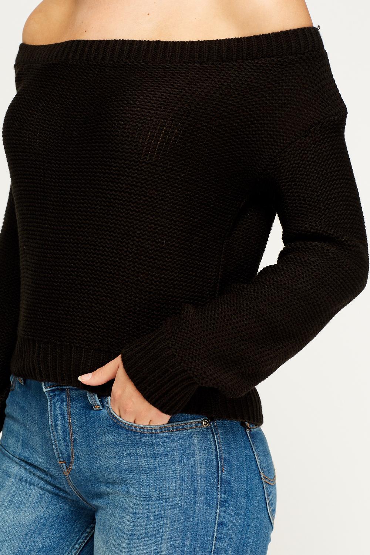 Off The Shoulder Jumper Knitting Pattern : Off Shoulder Knit Jumper - Just ?5