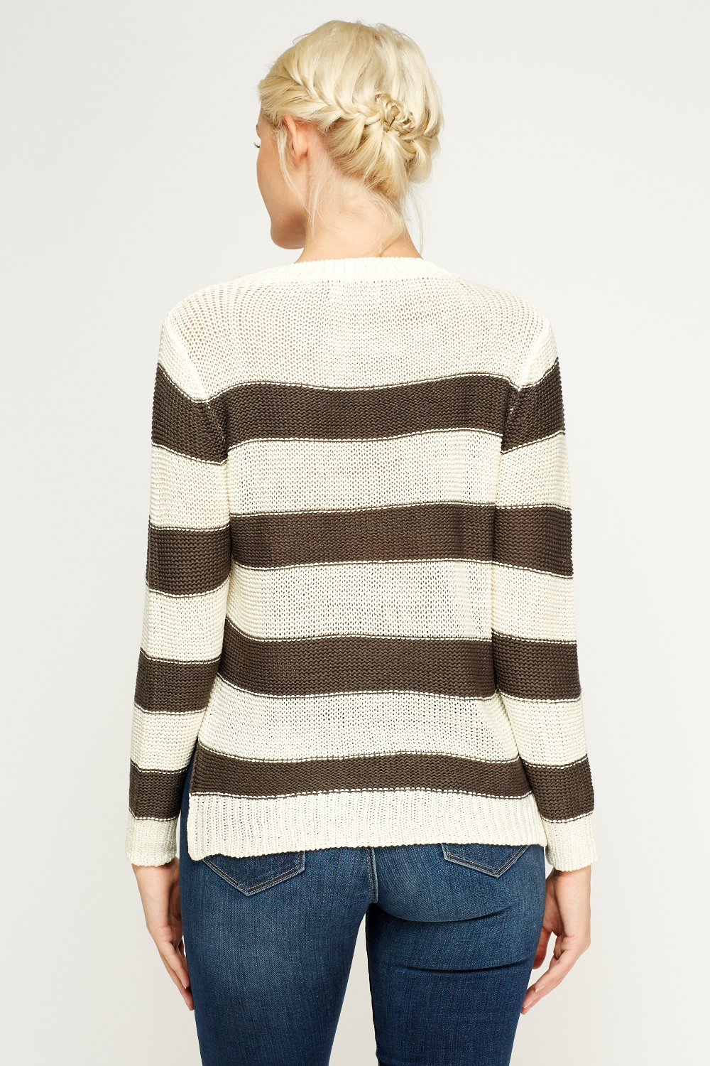 Striped Knit Jumper - 3 Colours - Just ?5