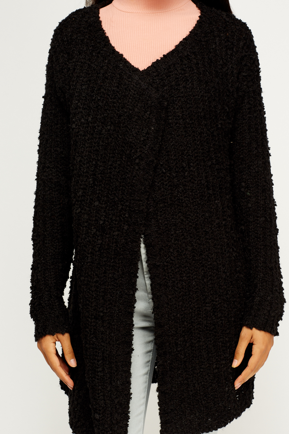 Bobble Knit Open Front Cardigan - Just ?5