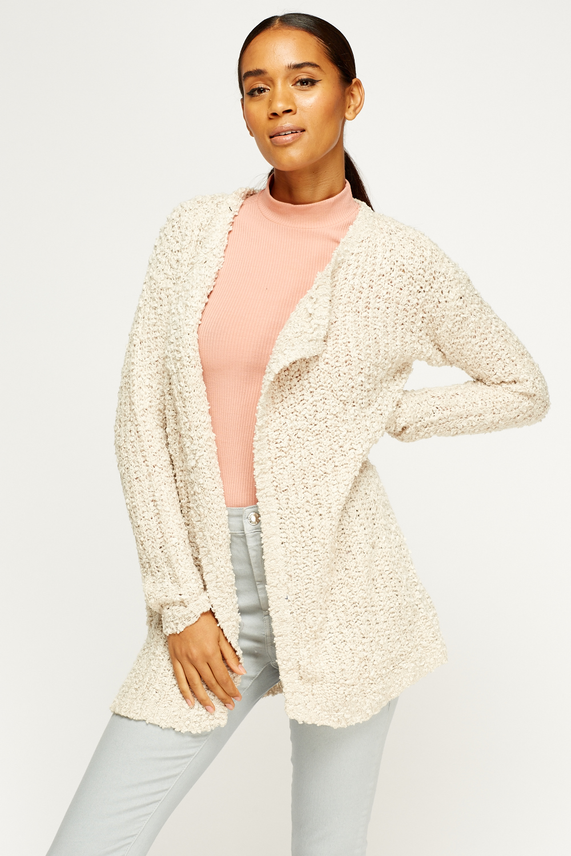 Knitting Pattern Open Front Cardigan : Bobble Knit Open Front Cardigan - Just ?5