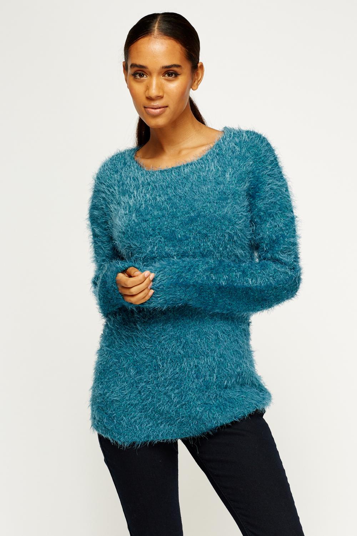 Eyelash Knitted Jumper - Just ?5