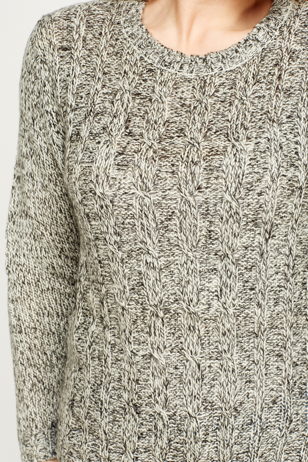 Cable Speckled Knit Jumper - Just ?2