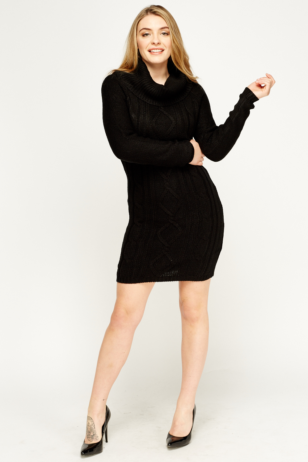 Cowl Neck Knitted Jumper Dress - Black or Grey - Just ?5