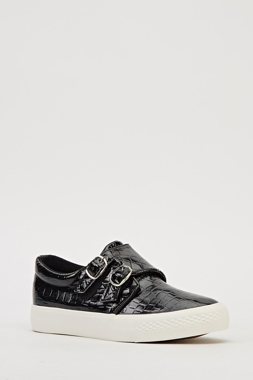 Twin Buckle Mock Croc Shoes Khaki Or Black Just 163 5