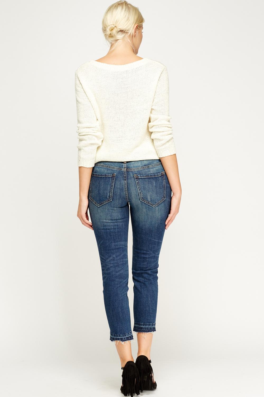 Frayed Hem Boyfriend Jeans