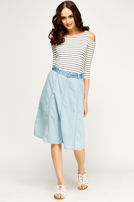 belted denim look midi skirt blue or light blue just 163 5