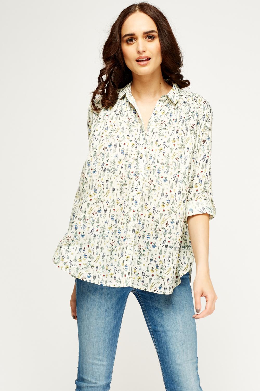 aeba50a4d Mixed Print Cream Shirt - Just £5