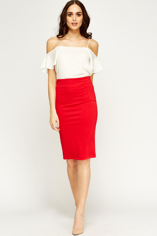 Red Midi Pencil Skirt - Just U00a35