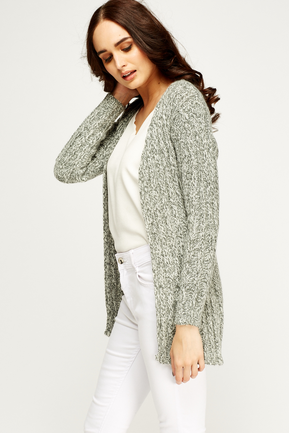 Knitting Pattern Open Front Cardigan : Speckled Knit Open Front Cardigan - Just ?5