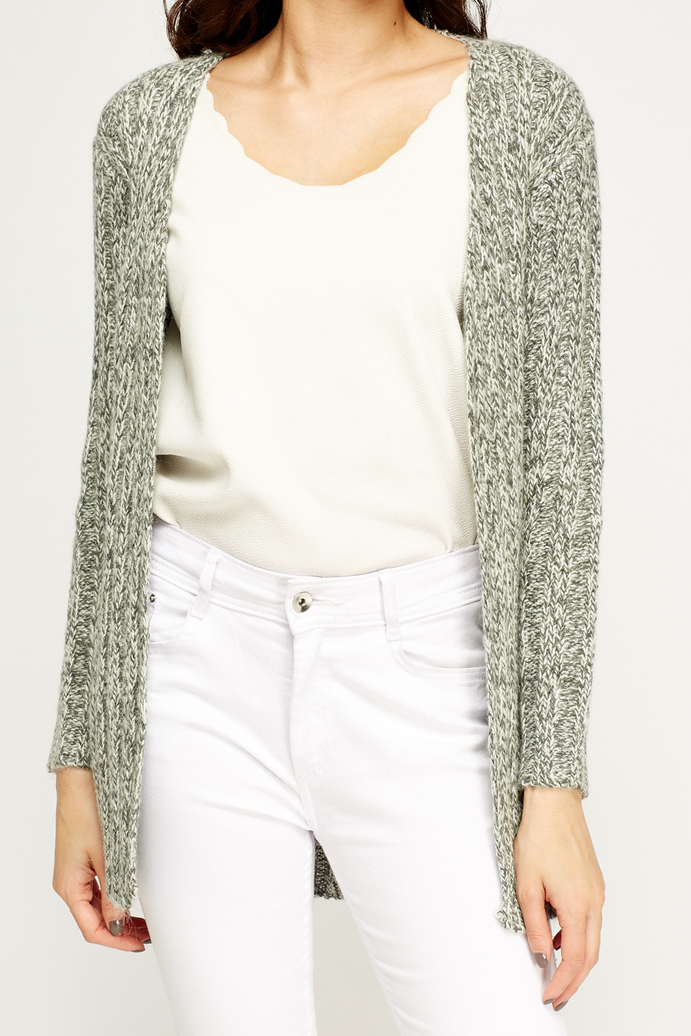 Speckled Knit Open Front Cardigan - Just ?5