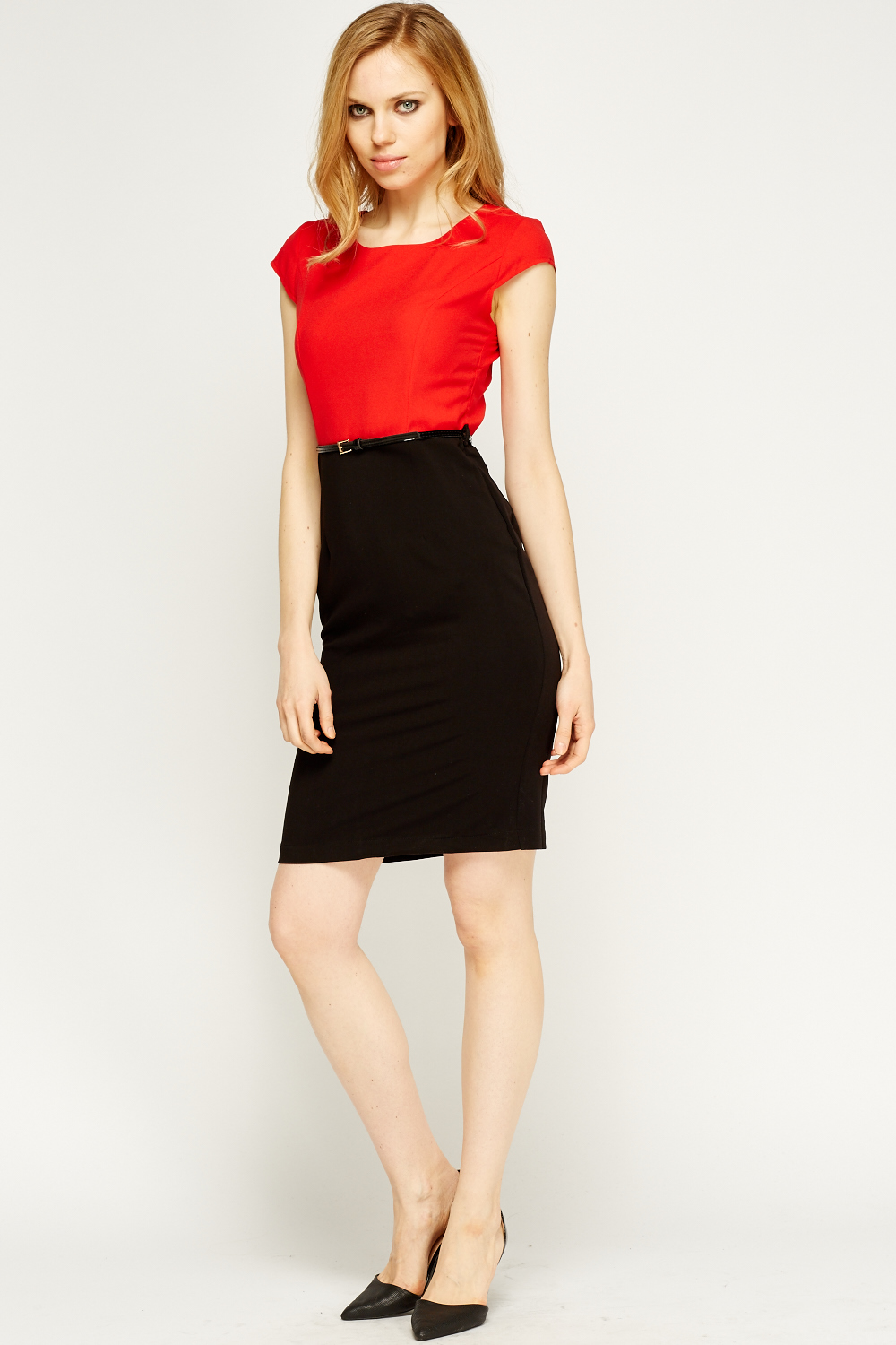 colour block belted pencil dress just 163 5