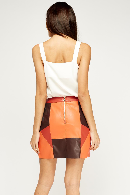 faux leather orange multi mini skirt just 163 5