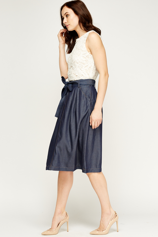 indigo denim look swing skirt just 163 5