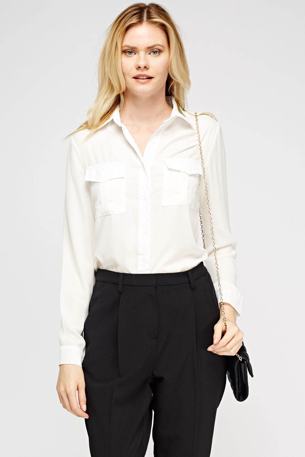 73890c12 Twin Pocket Sheer Blouse - Just £5