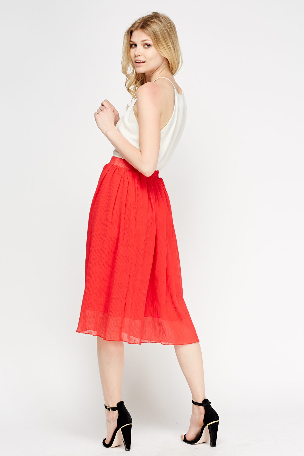 Red Pleated Midi Skirt - Just £5