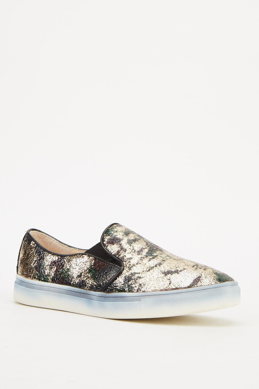 metallic printed slip on shoes just 163 5