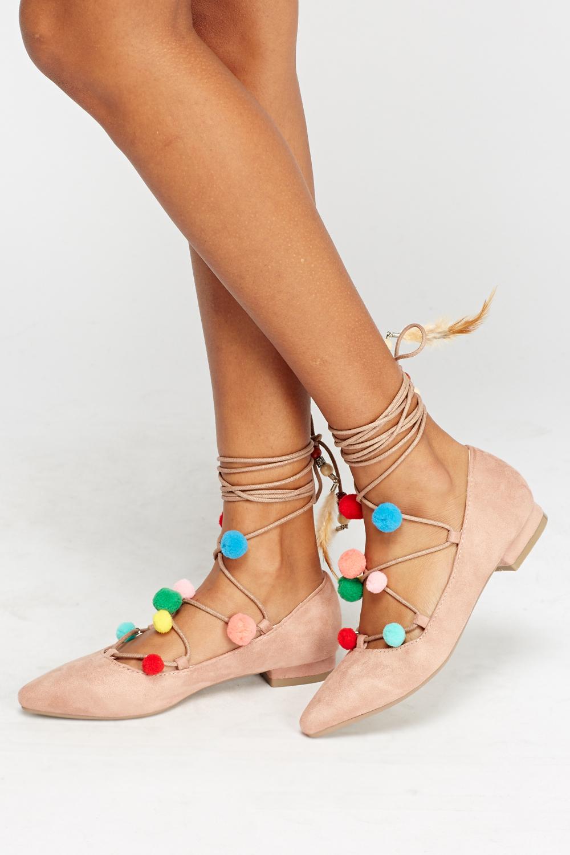 Pom Lace Up Sandals Just 5 High Heel Slides With Pompoms 1