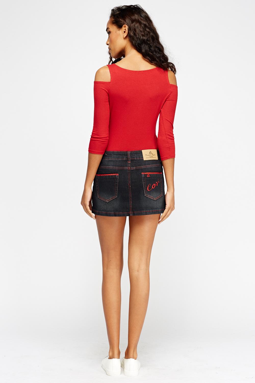 black denim mini skirt just 163 5