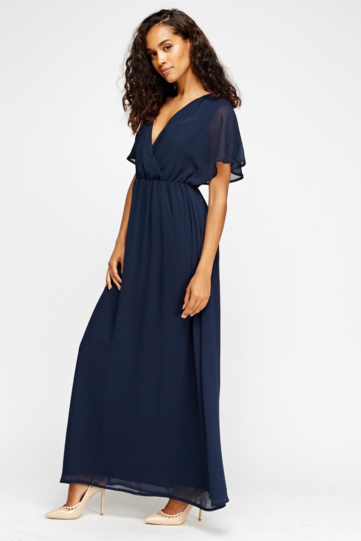 Navy embellished maxi dress