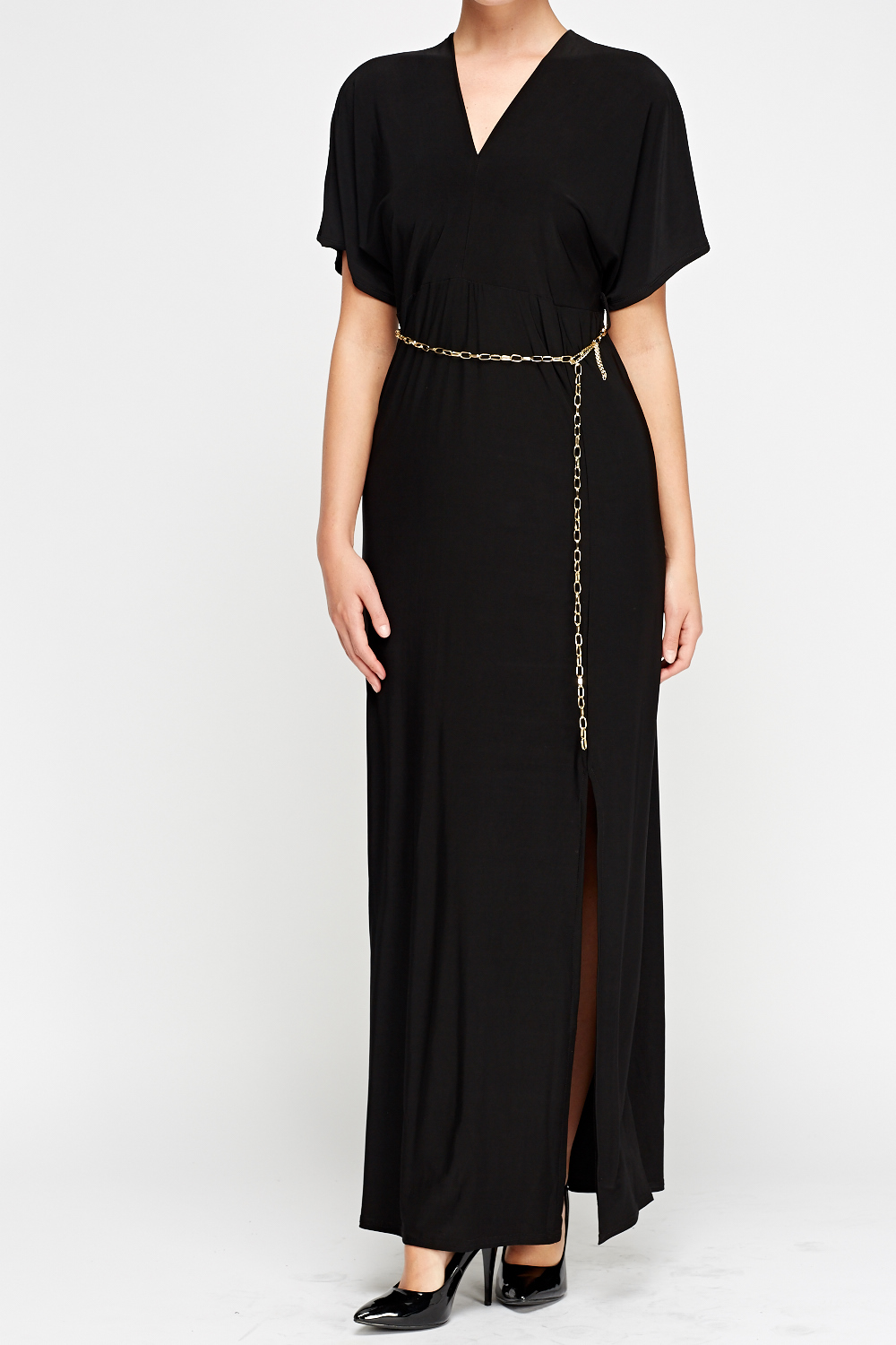 chain belted black maxi dress just 163 5