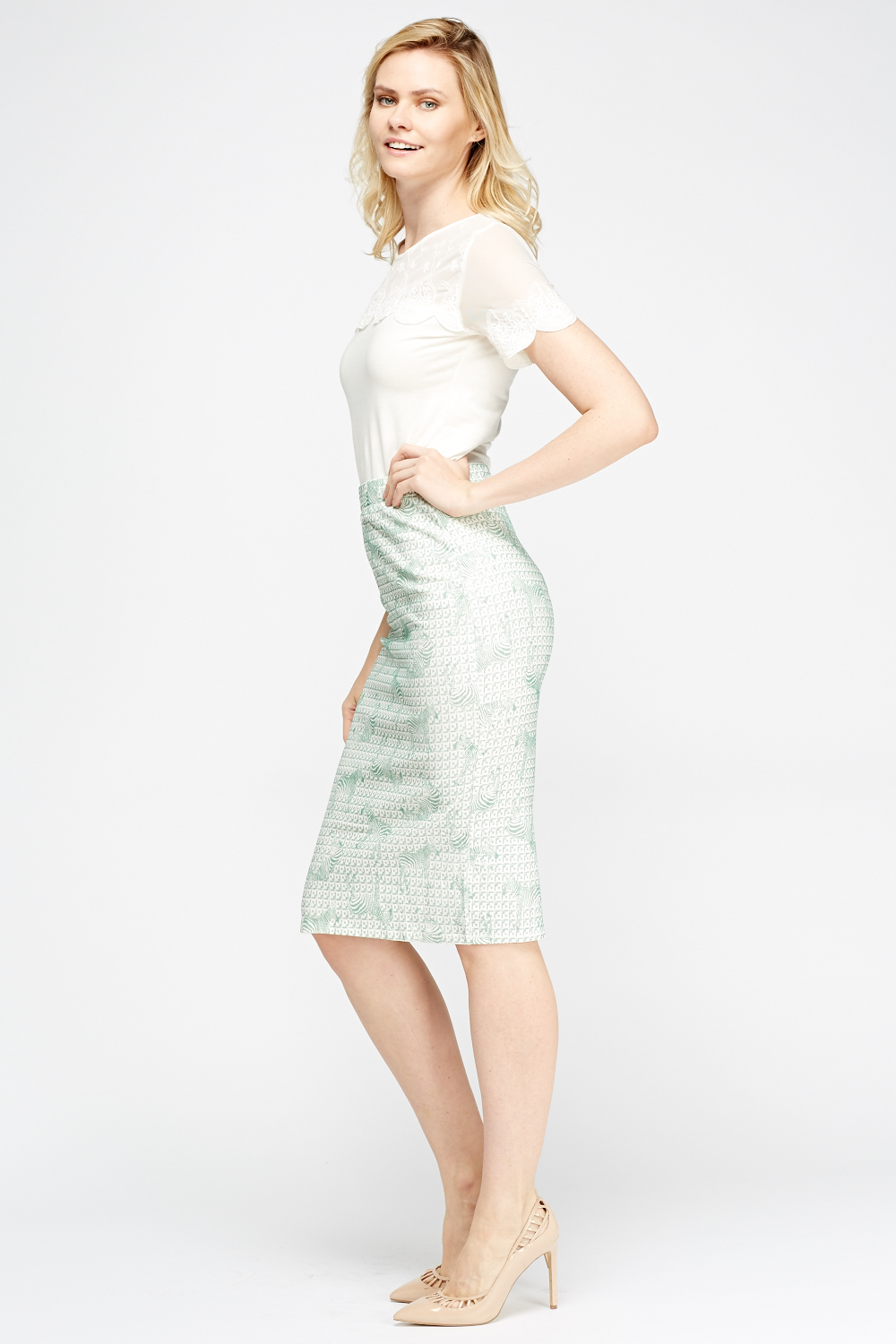 zebra print midi pencil skirt white mint just 163 5