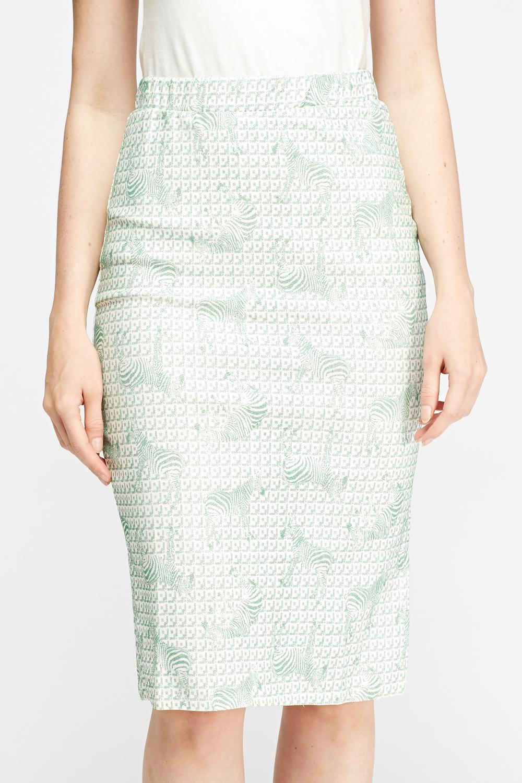 zebra print midi pencil skirt white mint just 163 5