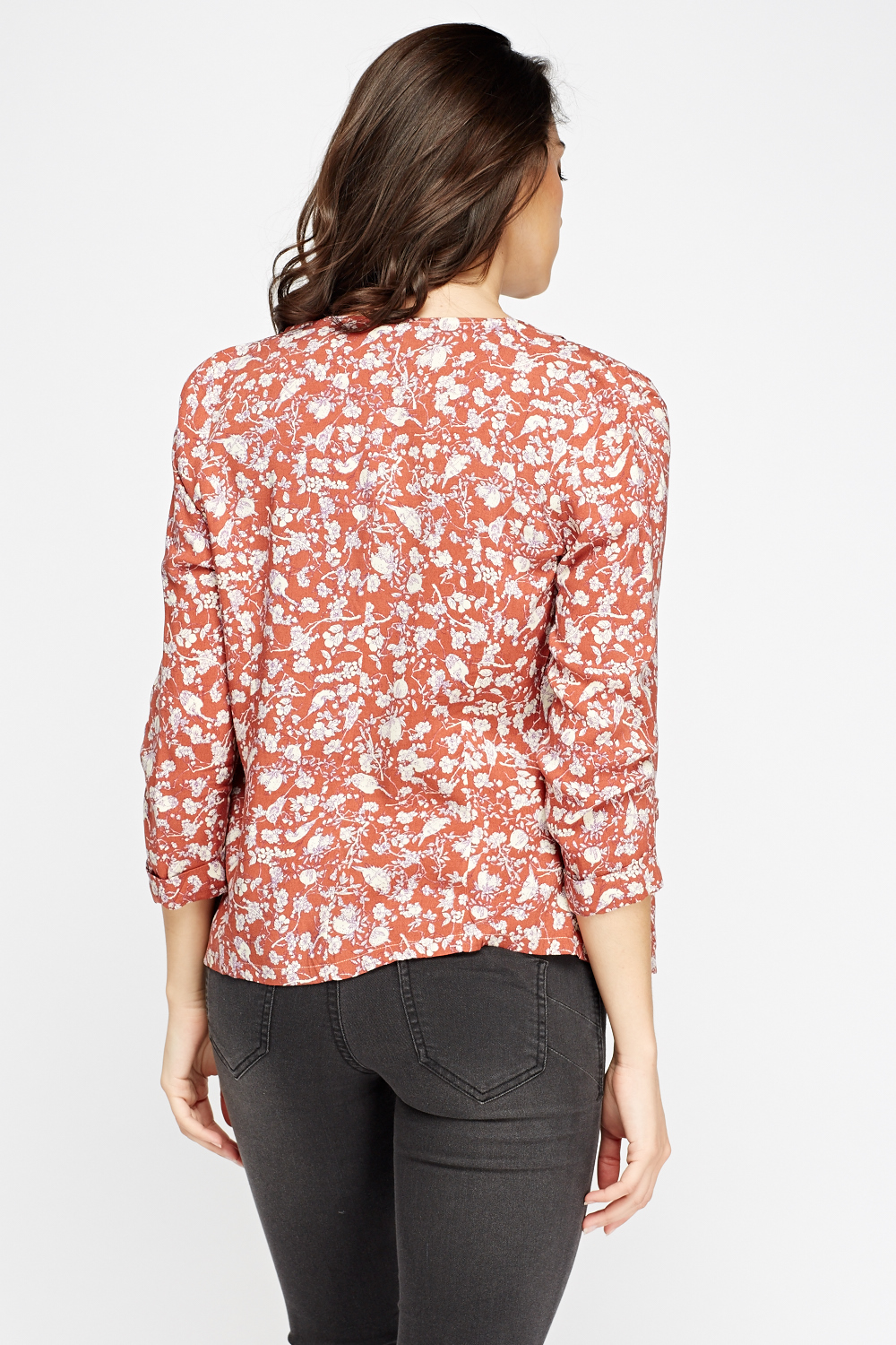 Rust Floral Kimono Top - Rust/Cream - Just £5