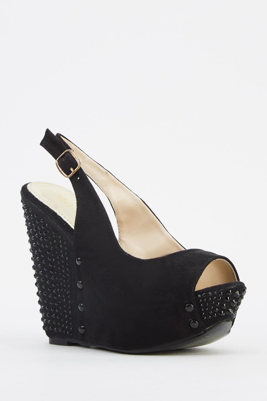 Black wedge sandals 2 inch heel - Encrusted Contrast Sandal Wedge