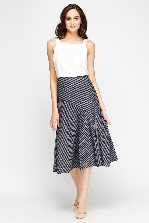 Navy Printed Midi Skirt - Just £5